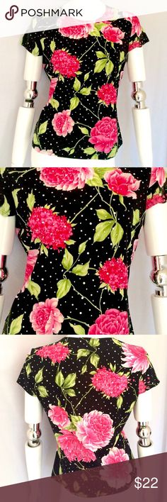 "Brittany Black Floral Top Brittany Black Short Sleeve Floral Top. Measurements: Armpit to armpit 19"", Length 23"", Sleeve 5"". Made in the USA. 92% Polyester, 8% Spandex. Machine Wash Cold. So adorable with any outfit. Brittany Black Tops"