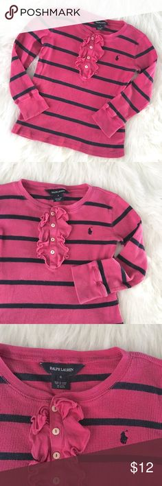 Girls Ralph Lauren Striped Ruffle Thermal Girls Sz 6 Ralph Lauren Thermal Long sleeve tee // ruffle and button front // very soft // RL logo on chest // slight fade from wash // colors are pink and navy // non-smoking home // 20% off 3+ Bundles // 10.22.12 Ralph Lauren Shirts & Tops Tees - Long Sleeve