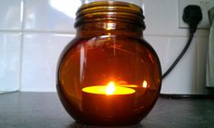 Marmite Jar = Tea Light Holder