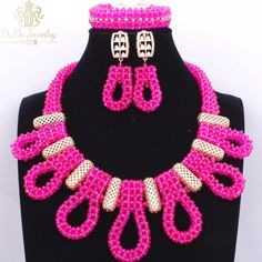 Luxury Nigerian Beads Necklace Hot Pink Dubai Christmas Costume Wedding Jewelry Sets Cute Indian Jewelry Accessories 2017 <3 This is an AliExpress affiliate pin.  Item can be found on AliExpress website by clicking the VISIT button
