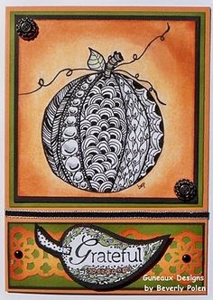 Guneaux Designs by Beverly Polen: Zentangle Pumpkin...luv the watercolor orange background contrasting with the black and white tangled pumpkin...shape was stamp and then tangled...