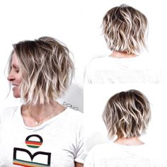 Textured Bob with Highlighted Layers A textured long bob is the way to go for medium length hair that feels a bit tired and boring. You can also implement contrasting highlighted layers to enhance the wow factor of your new cool hairstyle. Short Wavy Hairstyles For Women, Short Choppy Haircuts, Wavy Bob Hairstyles, Short Hair Cuts, Short Hair Styles, Hairstyles 2018, Haircut Short, Fashion Hairstyles, Latest Hairstyles