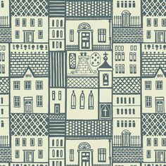 One of the twelve Sylvia Chalmers designs from the and are being digitally reproduced by the Centre for Advanced Textiles Motifs Textiles, Textile Patterns, Textile Design, Print Patterns, Doodle Patterns, Building Illustration, Illustration Art, Winter Illustration, Upholstery Fabric Uk