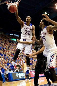 Kansas freshman Joel Embiid enters NBA draft #NBA #Draft Kansas Jayhawks Basketball, Nba Draft, Freshman, Goat, Basketball Court, Goats