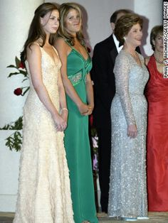 Laura Bush, right, with daughters Barbara, left, and Jenna, center, at the Constitutional Inaugural Ball celebrating President George W. Bush's second term in 2005.