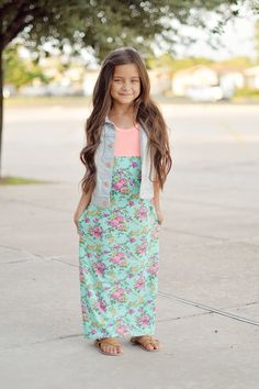 Moxie Peach and Vintage green rose maxi dress by TheKnotProject