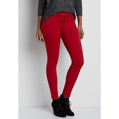 maurices Denimflex™ Jegging In Fire Red, Women's, (£27) ❤ liked on Polyvore featuring pants, leggings, jeggings leggings, red trousers, red pants, red leggings and denim leggings