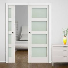 Double Pocket Coventry White Primed Shaker Door With Frosted Glass. #doubledoors #pocketdoors #slidingdoors