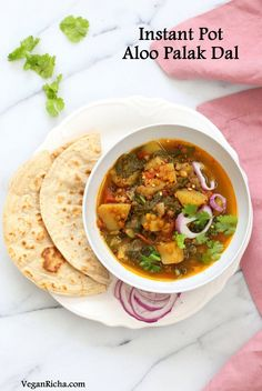 Instant Pot Aloo Palak Dal. Spiced Potato Spinach Lentils made in a pressure cooker or Instant Pot. Saucepan option. Vegan Gluten-free Soy-free Nut-free Recipe.