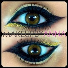 Lovely MakeupbyAnna used #Sugarpill Goldilux eyeshadow to give her perfectly winged cat eyes a beautiful pop of gold!