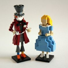 Alice in Wonderland's Mad Hatter and Alice Come to Life Through LEGOs