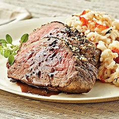 A delicious dinner to share with your sweetie: Lobster Risotto with Herb-rubbed Beef Tenderloin | Coastalliving.com