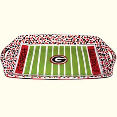 this UGA Football Field Stadium Platter would look great with some tailgate sliders on it!
