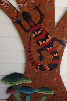 "Goanna & Mushrooms detail from ""Wisdom Tree"", an outdoor mosaic wall mural created by Brett Campbell using ceramic tiles"