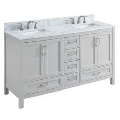 Shop Scott Living Durham Light Gray Undermount Double Sink Bathroom Vanity with Natural Marble Top (Common: 60-in x 22-in; Actual: 60-in x 22-in) at Lowes.com