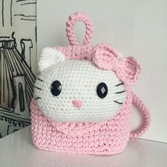 Discover thousands of images about Crochet Hello Kitty Purse Free Pattern Crochet Hello Kitty, Chat Hello Kitty, Hello Kitty Purse, Crochet Handbags, Crochet Purses, Crochet Toys, Crochet Gratis, Crochet Girls, Crochet For Kids
