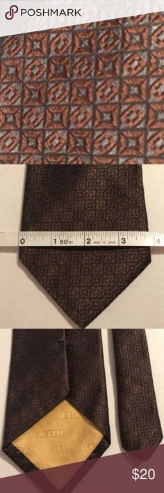 "ROBERT TALBOTT BEST OF CLASS MEN'S NECKTIE ROBERT TALBOTT BEST OF CLASS MEN'S NECKTIE HAND SEWN IMPORTED SILK BROWN 59"" LONG Robert Talbott Accessories Ties"