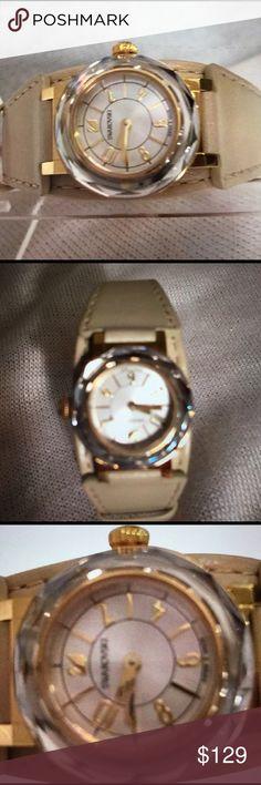 Swarovski Watch Crystal, gold, light taupe leather band NWOT Swarovski Jewelry