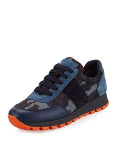 Camouflage Tech Lace-Up Sneaker, Blue (Bleu) by Prada at Neiman Marcus.