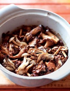 Broiled Wild Mushrooms with Tamari Butter. Ingredients: 1 lb assorted wild mushrooms (e.g. chicken-of-the-woods, maitake, king, hedgehog, shiitake, cremini) cleaned with a damp towel;  2 tblsp tamari or soy sauce;  2 tblsp sake;  4 tblsp (1/2 stick) unsalted butter. Directions: Preheat the broiler. In a bowl, toss the mushrooms with the tamari and sake. Arrange the mushrooms on a rimmed baking sheet and dot with the butter. Broil, turning once, until tender and golden, about five minutes…