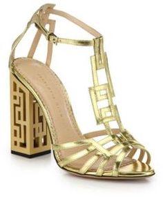 Geometric Cutout-Heel Metallic Leather Sandals