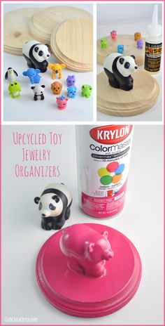 Upcycled Toy Hanging Organizers Craft - transform your kids old animal toys into colorful hanging jewelry organizers