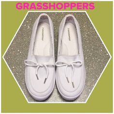 White Grasshoppers Slip-Ons Great condition, worn 3-4 times. Small make on one side as shown in pic. Price reflects. Grasshoppers Shoes