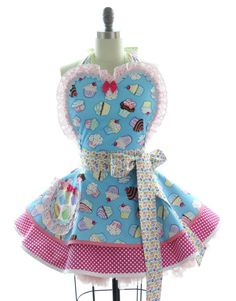 Retro Apron - Cupcake Jelly Sexy Womans Aprons - Vintage Apron Style - Cupcakes Pin up Sweet Treats Rockabilly Cosplay Lolita