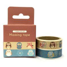 Owl 2pc Set Washi Tape 4.9m x 2 SM312627 by ACuteStreet on Etsy