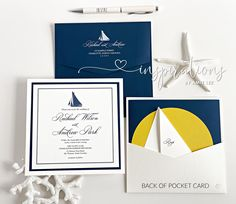 Elegant nautical sunset wedding invitatations! Mailing Envelopes, Addressing Envelopes, Nautical Wedding Invitations, Nautical Design, Sunset Wedding, Pocket Cards, Thank You Cards, Rsvp, Place Cards