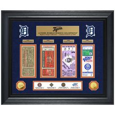 """Detroit Tigers Highland Mint 24"""" x 20"""" 4-Time World Series Champions Deluxe Coin & Ticket Collection Photo Mint"""