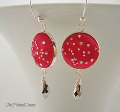 Red Sparkle Fabric Covered Button Earrings by ThePaintedCanary