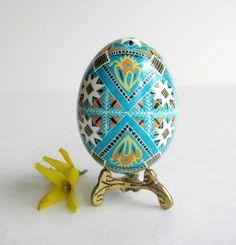Blue Blossoms Easter Egg, Pysanky, hand painted pysanka Ukrainian Easter egg. $39.95, via Etsy.