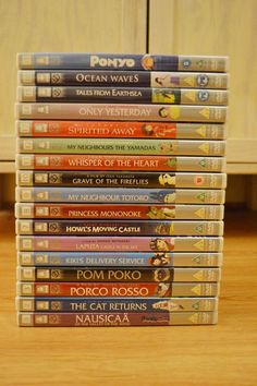 Studio Ghibli DVDs. So far I have Howl's Moving Castle, Nausicaa, and a copy of Princess Mononoke (my fave!) with no case.