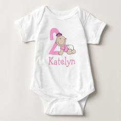 Cute Pink 2nd Birthday Baby Baby Bodysuit - giftidea gift present idea one first bday birthday 1stbirthday party 1st