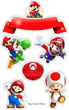 Topo de Bolo de Papel do Mario Bros para Imprimir Grátis - Mimo Kids