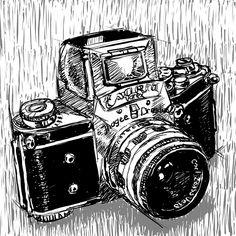 Varex, dessin réalisé à la tablette Wacom, dans Photoshop, mais d'après nature (l'appareil posé devant moi). Camera Art, Retro Camera, Photography Illustration, Illustration Art, Illustrations, Pictures Of Cameras, Employee Recognition, Photoshop, Les Oeuvres