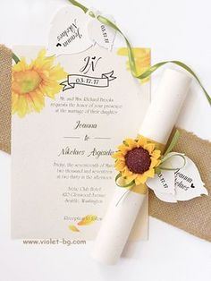 Yellow Sunflower Invitation, Yellow Green Sunflower Scroll Wedding Invitation