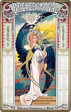 (France) Breger & Javal by Louis Théophile Hingre Art Nouveau Mucha, Alphonse Mucha Art, Art Nouveau Poster, Art Nouveau Design, Inspiration Art, Art Inspo, Vintage Posters, Vintage Art, Art Nouveau Illustration