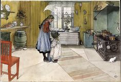 The Athenaeum - The Kitchen Carl Larsson Nationalmuseum - Stockholm Painting - watercolo