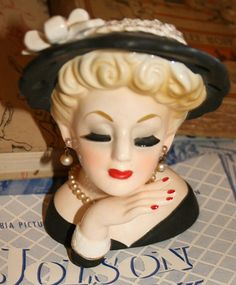 vintage Head Vase. My great-grandmother had a bunch of these.