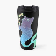 'Mercat' Travel Mug by pixelpixelpixel Mermaid Cat, The Little Mermaid, Travel Mug, Cups, My Arts, Stainless Steel, Art Prints, Printed, Awesome