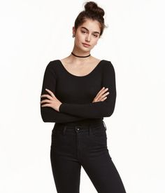 Long-sleeved Bodysuit | Black | Ladies | H&M US