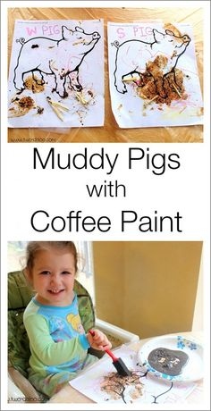 """A fun farm activity for toddlers using coffee paint to make """"muddy"""" pigs"""