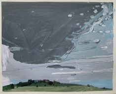 Tall Sky August 1 Original Landscape Collage Painting by Paintbox, $75.00