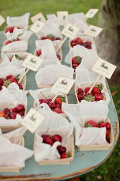a basket of berries used as seating cards for guests - escort cards, party, wedding, table seating, strawberries Summer Wedding Favors, Unique Wedding Favors, Rustic Wedding, Wedding Ideas, Fruit Wedding, Wedding Inspiration, Strawberry Wedding, Summer Weddings, Autumn Wedding