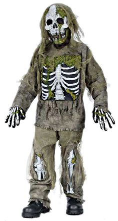 Skeleton Zombie Costume Child Size in Boys Costumes: Straight out of a cold, damp grave! Kid's skeleton zombie costume includes long sleeve shirt and pants with tattered gauze detailing, gloves, latex chest piece and leg bones attached. Scary Halloween Costumes, Boy Costumes, Halloween Kids, Halloween Party, Costume Zombie, Skeleton Costumes, Costume Ideas, Pirate Halloween, Halloween Couples