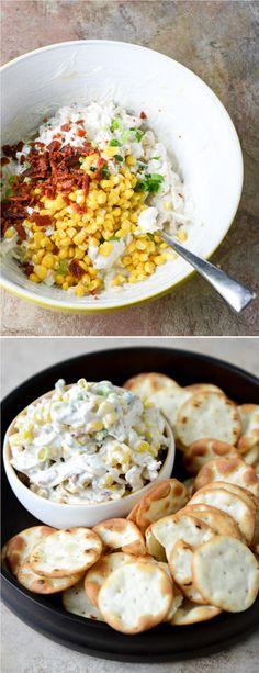 Sweet Corn, Bacon, Scallion Chicken Salad made with Greek Yogurt I howsweeteats.com