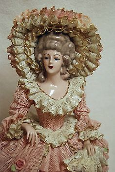 Rare-13-3-4-Tall-Heirlooms-of-Tomorrow-Pink-Lace-Victorian-Woman-Figurine