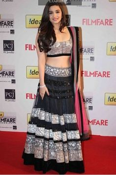 Aliya Bhatt Black Net Replica Bollywood Lehenga @ 50% discount.